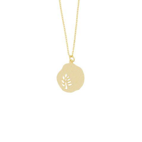 Dünne Goldkette mit Blattanhänger Madeleine Issing