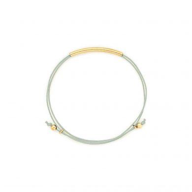 Armband hellblau gold Baumwollgarn Tube Madeleine Issing