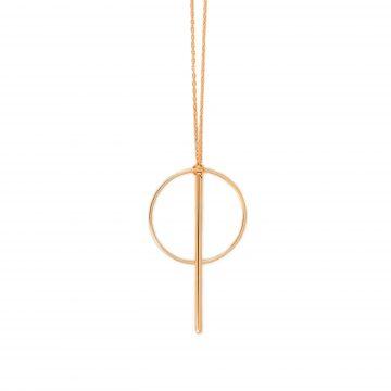 Kette mit Anhänger Gold geometrisch Kreis mit Stab Madeleine Issing