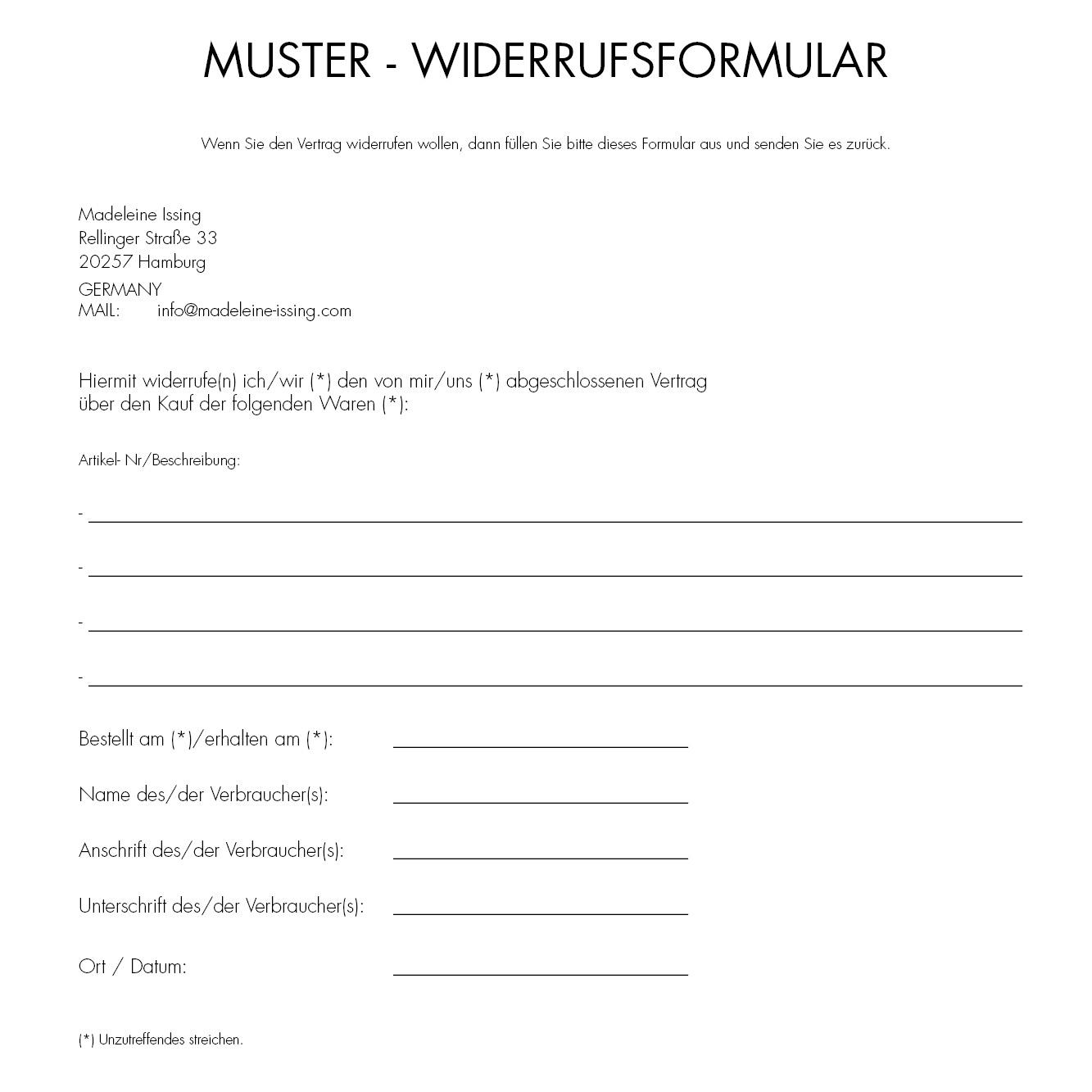 muster widerrufsformular - Muster Widerrufsformular
