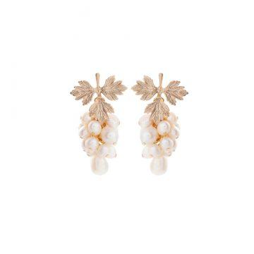 Ohrringe Blätter Gold mit Perlenanhänger Madeleine Issing