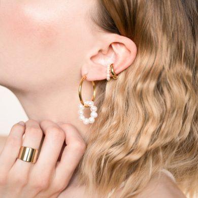 Perlen Creolen vergoldet Süßwasserperlen Ring Madeleine Issing