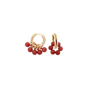 Rote Karneol Creolen Gold vergoldet Madeleine Issing